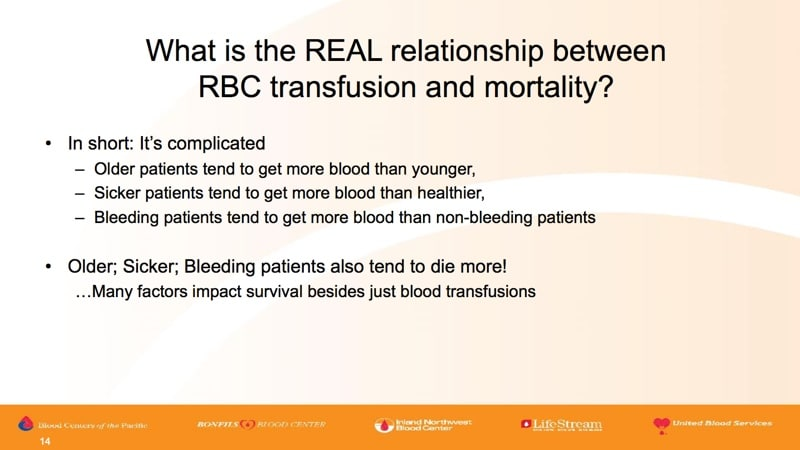Land slide 8 - Real relationship between transfusion and mortality