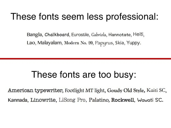Krafts slide 5 - Unprofessional, busy-appearing fonts