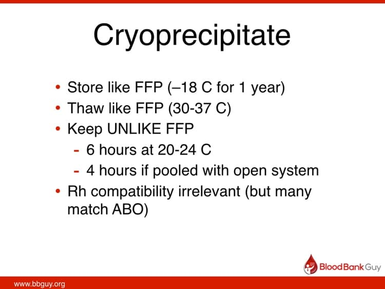 Cryo slide 4 - Cryo storage and use details