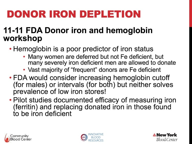 Slide 4 - Nov 2011 FDA donor iron workshop discussions summarized