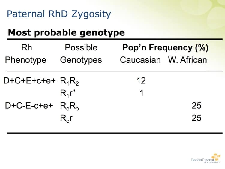 Denomme Slide 5 - Example of RhD zygosity differences