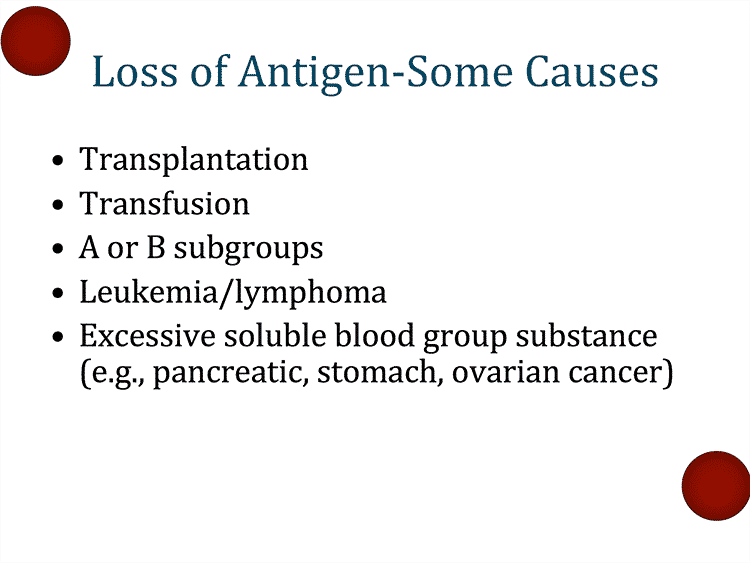 "Slide 11: Summary of ABO discrepancies associated with ""antigen loss"""